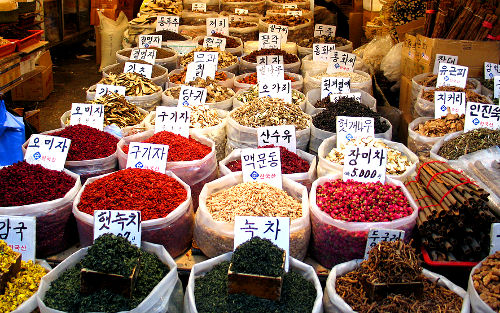 Photo of shop at an open market, South Korea