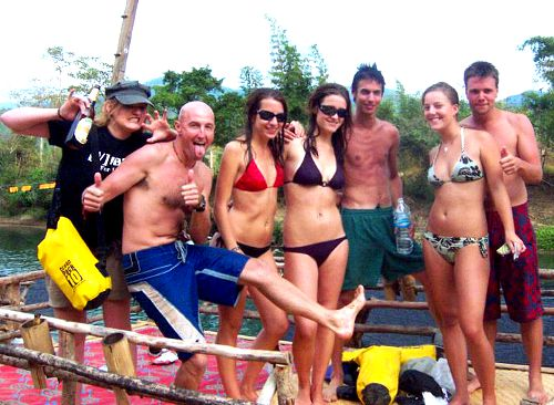 Photo of Inner Tubing Partiers in Vang Vieng, Laos